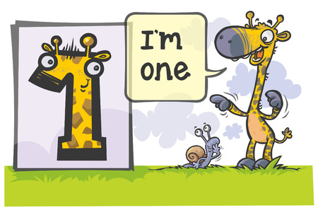 arithmetic:  Cartoon Number One with animal characters