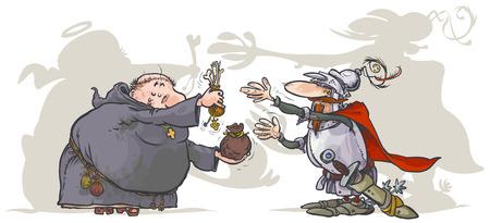 remission: Monk, la vendita di un sante reliquie di un cavaliere Vettoriali