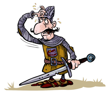 weary: Cartoon weary warrior  Illustration