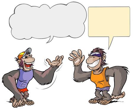monkey clip: Two monkey cartoon characters  Illustration