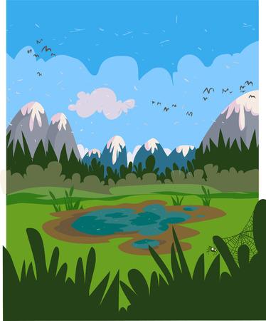 Marshy cartoon landscape   Иллюстрация