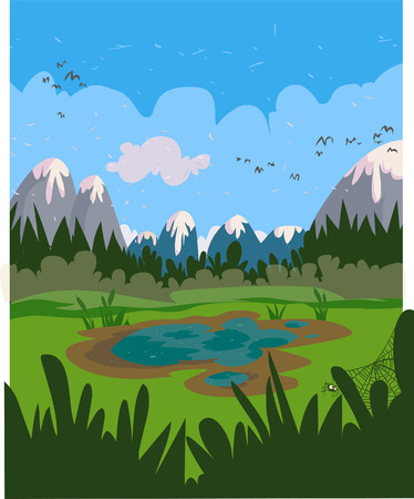 Marshy cartoon landscape   Illustration
