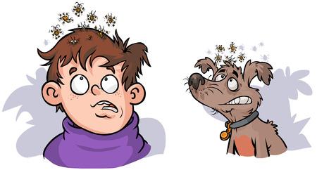 piojos: Muchacho y perro con los piojos