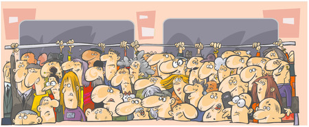 crowded: Crowd of people in the public transport  Illustration