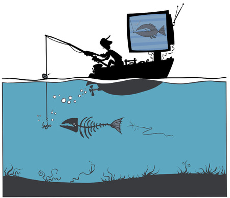 TV Fishing  Vector