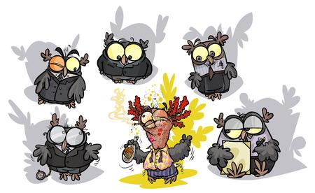 Cartoon owls group - a formals surround a roisterer