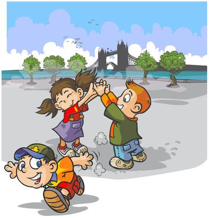 ゲームを遊んでいる子供たち  イラスト・ベクター素材