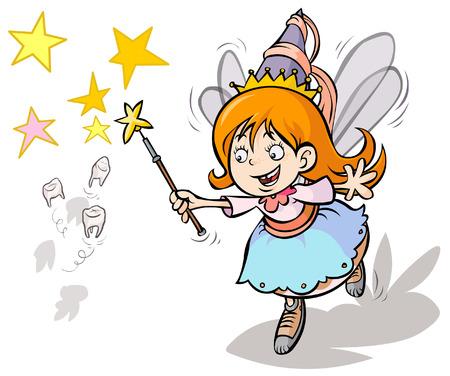 Tooth fairy mignon de bande dessinée Vecteurs