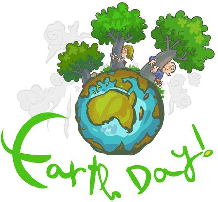 Earth day Cartoon  Illustration