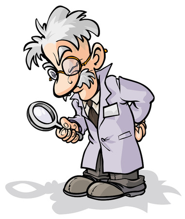 Cartoon scientist with a magnifying glass