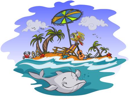 Sunny exotic beach Vector