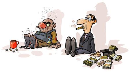 Arme bedelaar Rich bedelaar