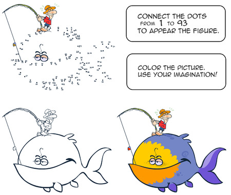 connect the dots: Connect the dots and color the big Fish