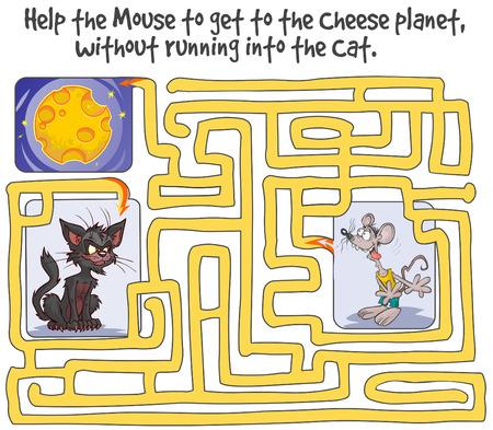 gato caricatura: Divertido juego de laberinto con el ratón, el planeta del queso y del gato. Vectores