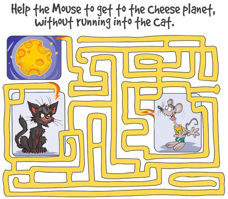 Funny Maze Game with Mouse, Cheese planet and Cat. Illustration