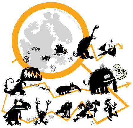 Funny Evolution animals 일러스트