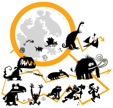 Funny Evolution animals Иллюстрация