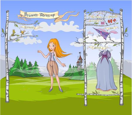Princess Dress up game. Vector