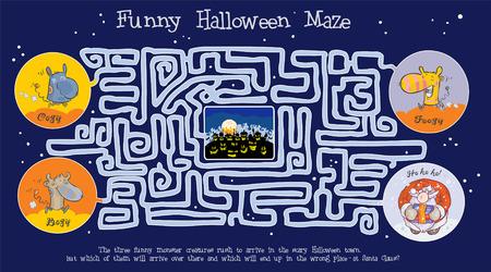 Funny Halloween maze Vector