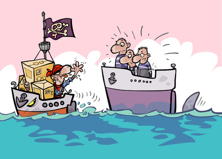 robbery: Shipping risks cartoon. Stolen shipment.