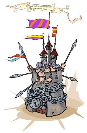 edad media: Fortaleza cerrada con candado fuerte con los defensores.