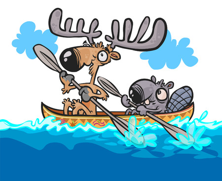 Cartoon Moose and Beaver friendly characters on canoe. Vector