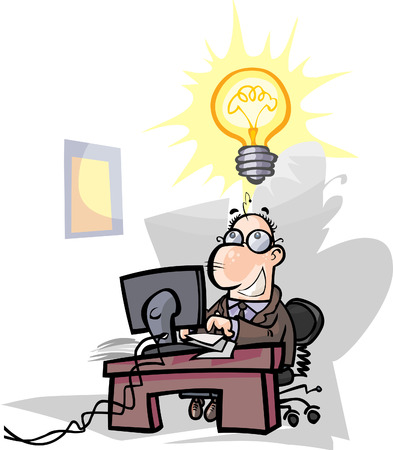 Businessman, office worker have a good idea.