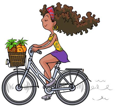 agreeable: Pretty african girl on bike.