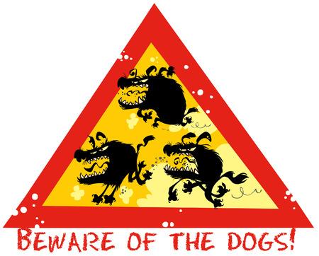 kampfhund: Beware of Dogs lustigen Zeichen. Illustration