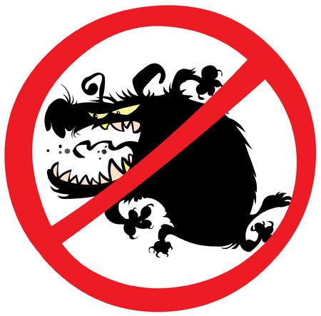 Evil dog prohibition sign. Illustration