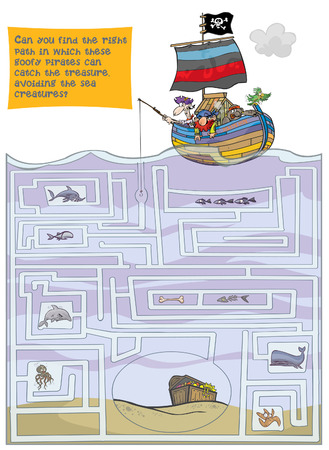 Large maze with Pirates and treasure. Vector