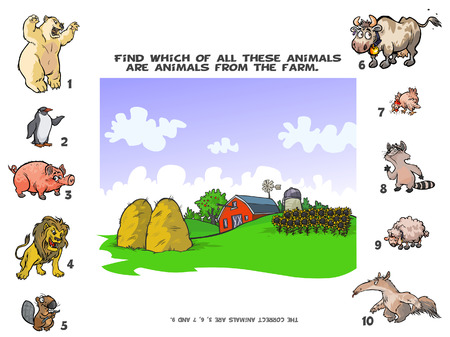 colorful straw: Funny Quiz about the Farm Animals. Illustration