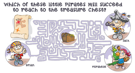 Maze game with Pirates children and treasure quest.