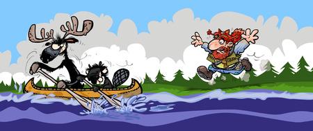 plunder: Funny Moose Beaver and Trapper illustration.