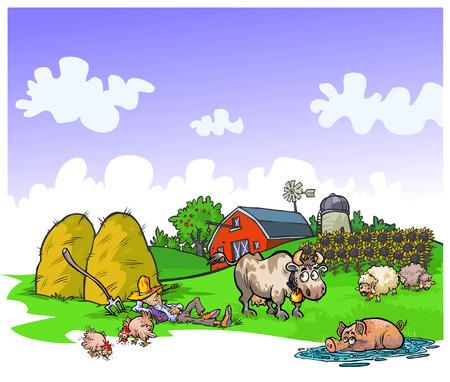 porker: Cartoon illustration of a quiet farm.