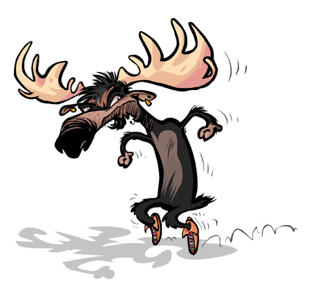 Moose with Moccasins steps on tiptoe