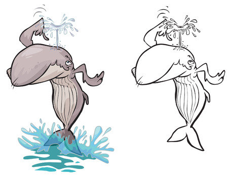 fountains: Cartoon Whale. Color and outline version. Illustration