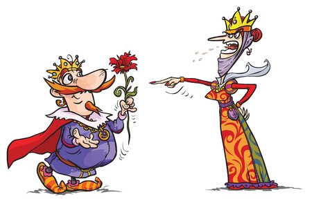 squabble: Amiable King and choleric Queen cartoon characters.