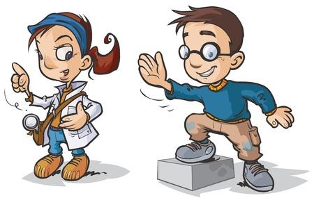niño y niña: Personajes inteligentes historieta de los niños.