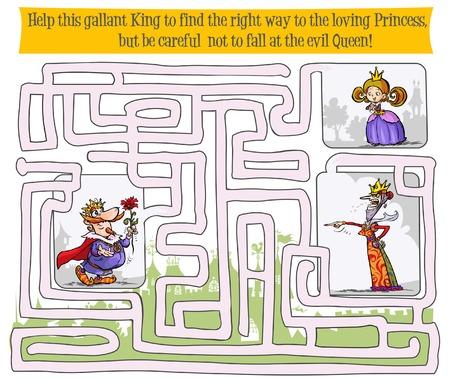 princesa: Laberinto juego con el rey, la reina y la princesa.
