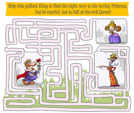 fairy tale princess: Maze game with King, Queen and Princess. Illustration