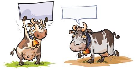 cartoon hand: Cartoon Cow characters.