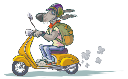 Cartoon Dog on Scooter.