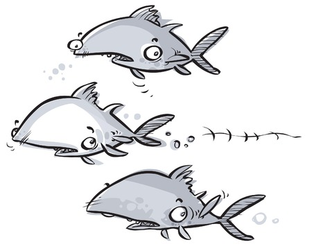 uneasiness: Tuna fish Cartoon characters.