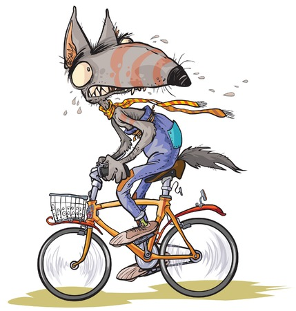 humor: Funny frightened wolf rides a bike.