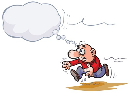 pursue: Cartoon Man chasing his idea.