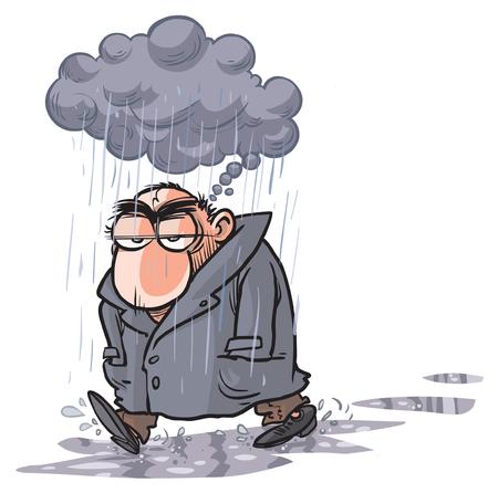 intempéries: Man Cartoon avoir des problèmes. Illustration