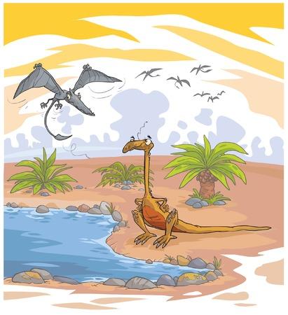 mesozoic: Funny cartoon Dinosaurs in their environment.