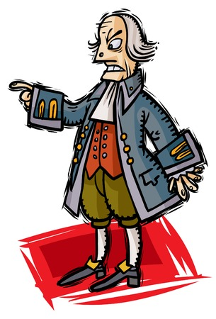 Historical dressed cartoon character.