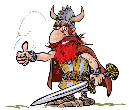 Cartoon Viking warrior. Illustration